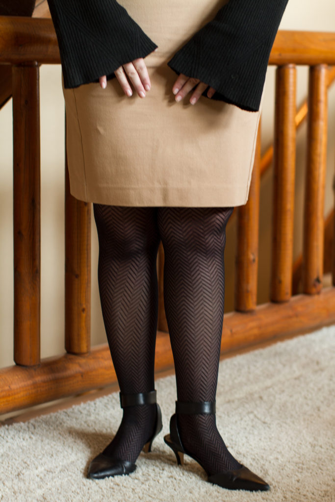 When to wear tights | Tan Ann Taylor skirt with herringbone tights and black heels