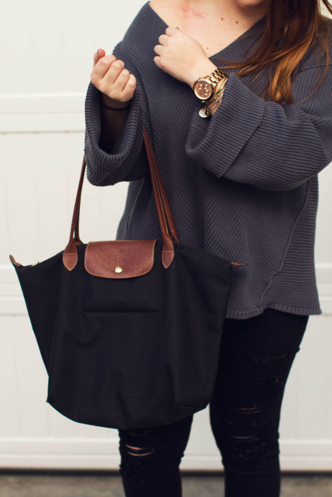 OTS Bell sleeved Free People sweater plus gold accessories and longchamp bag by Margaret Paige