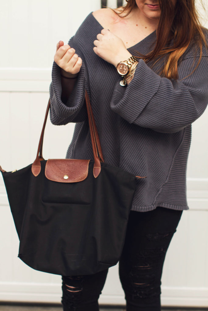 OTS Blue Bell Sleeved Sweater + Longchamp bag by Margaret Paige