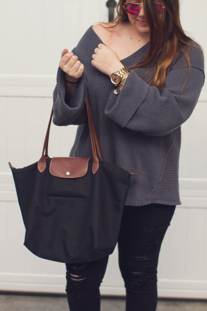 Blue bell sleeved OTS sweater with longchamp bag and pink ray bans by Margaret Paige