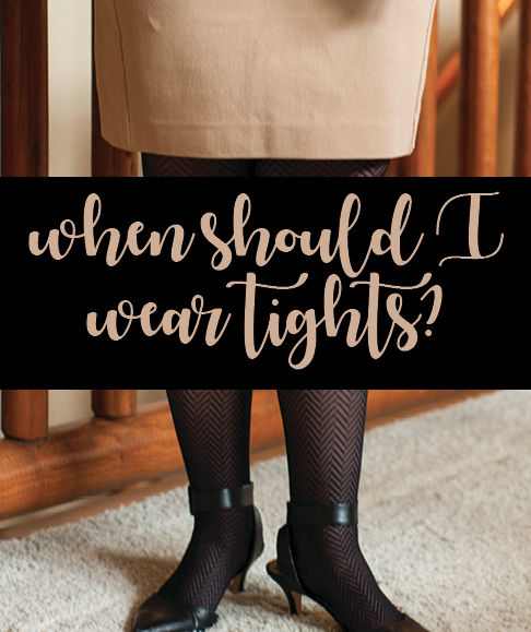 When should I wear tights? Image with tan skirt and tights